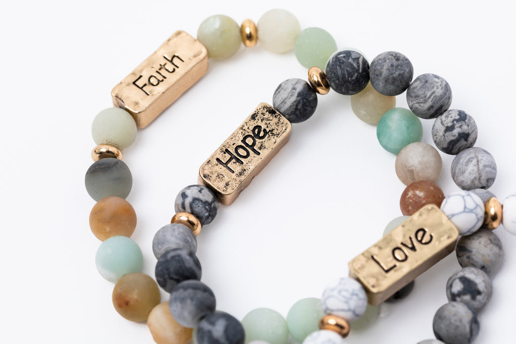 Have A Little Faith Stacked Bead Bracelet Set - FAITH, HOPE, LOVE (7051)