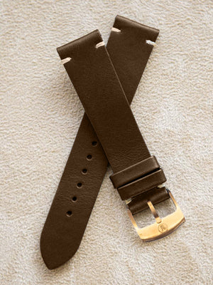 Brown Leather Vintage Watch  Band 20mm Boucle Bronze