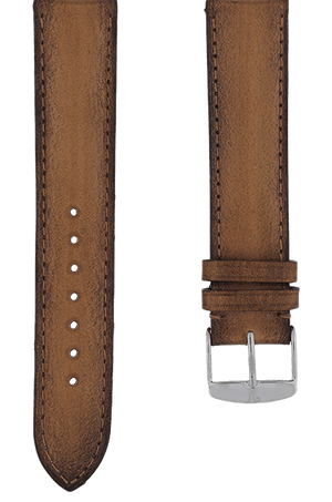 Gold Patinated Leather Watch Band 19mm