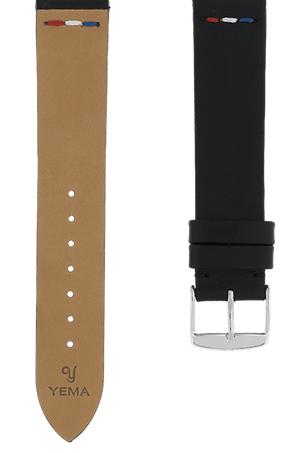 Black Leather Vintage France Watch Band 19mm