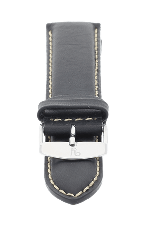 Smooth Black Leather Watch Band 19mm FREE