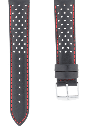 Rallye Sport Perforated Black Leather Watch Band 19mm FREE