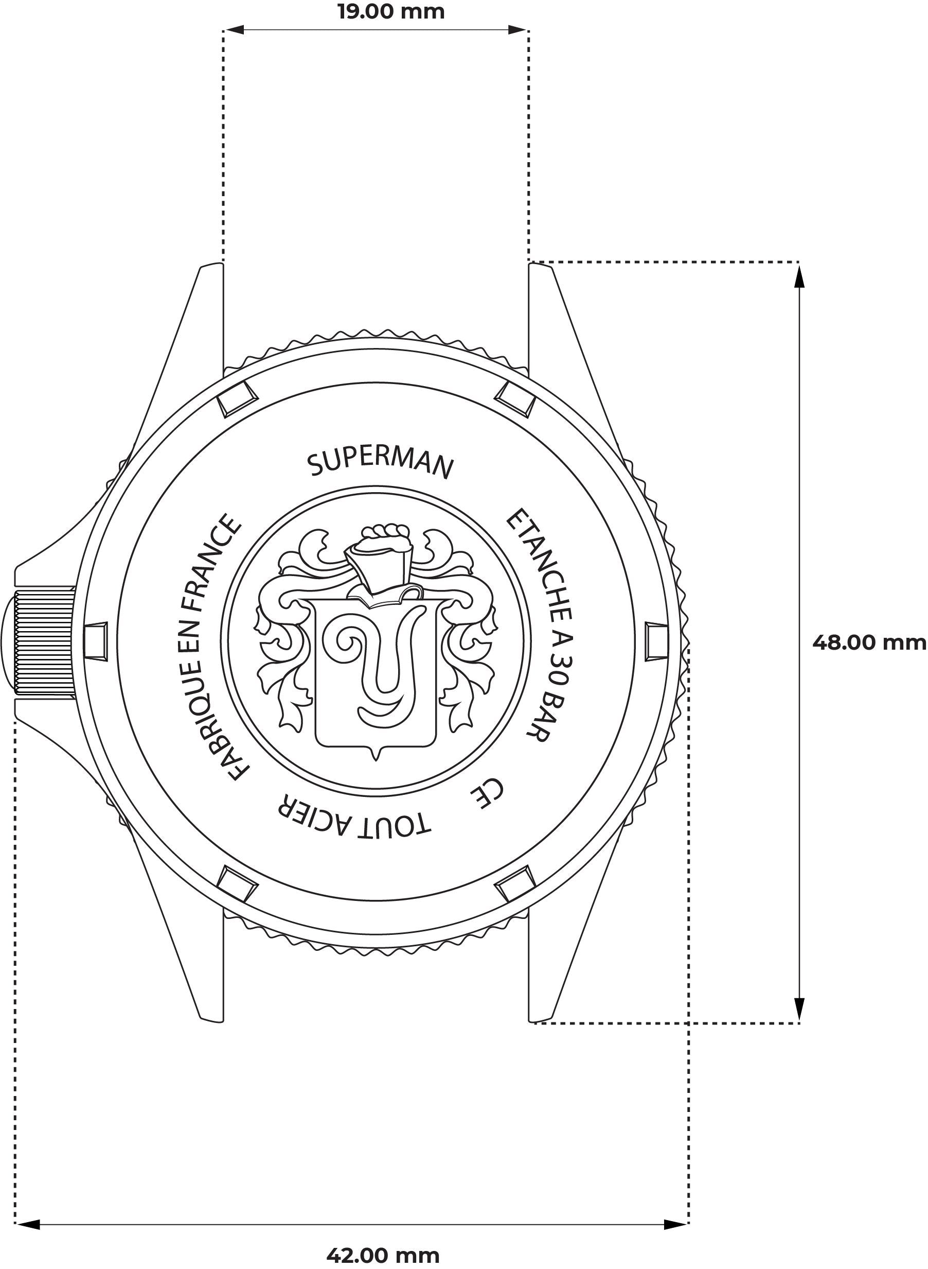 Superman Heritage Black -Technical Drawing - Case
