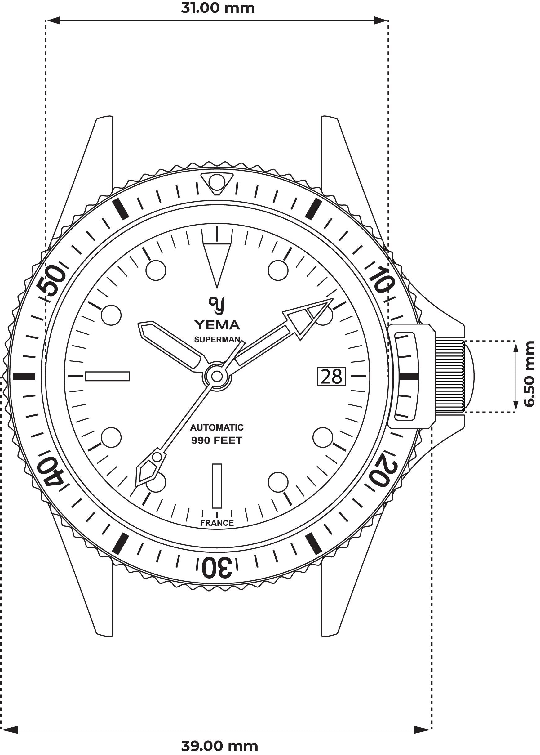 Superman Heritage Black -Technical Drawing - Front