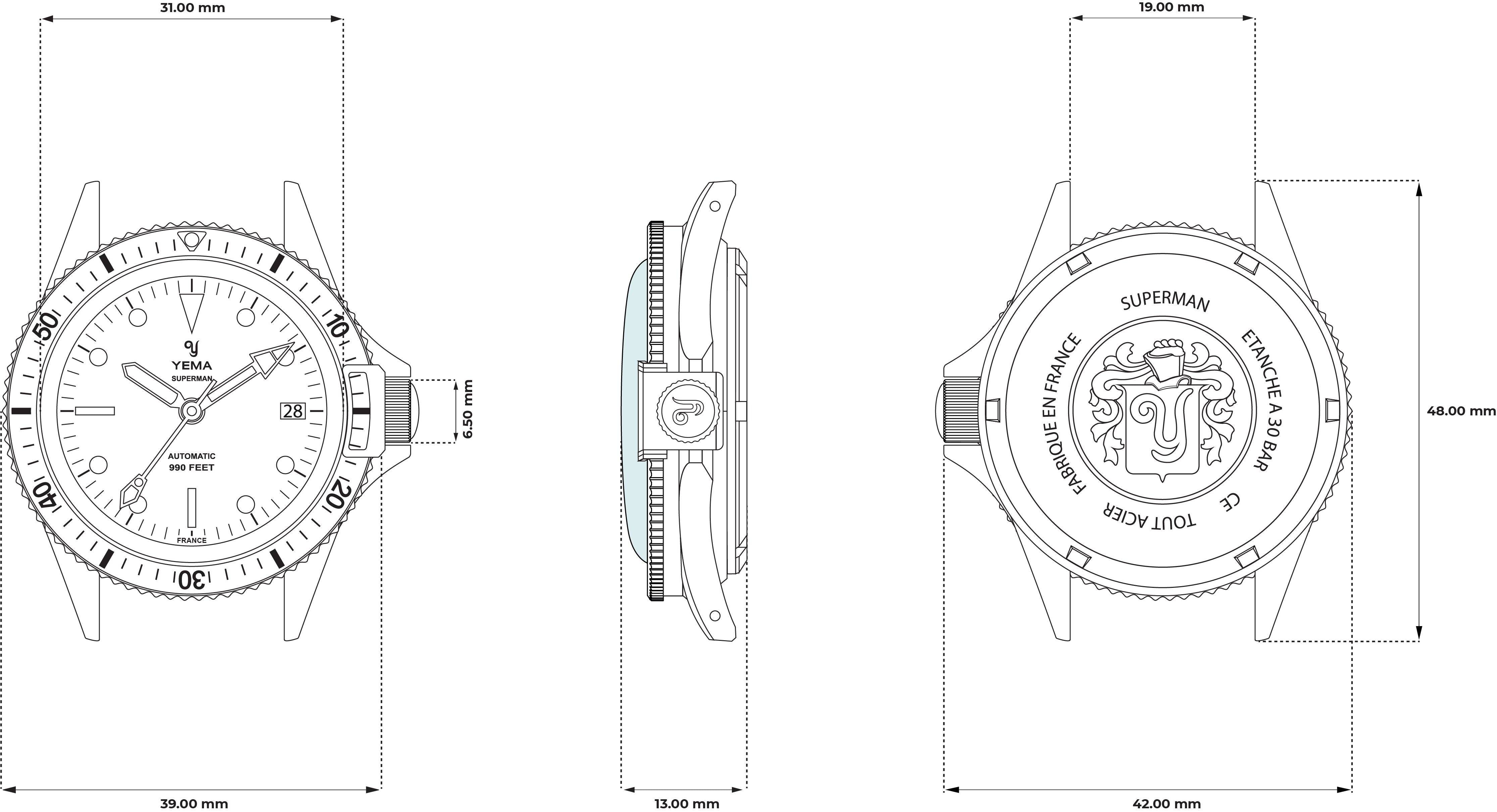 Superman Heritage Black -Technical Drawing