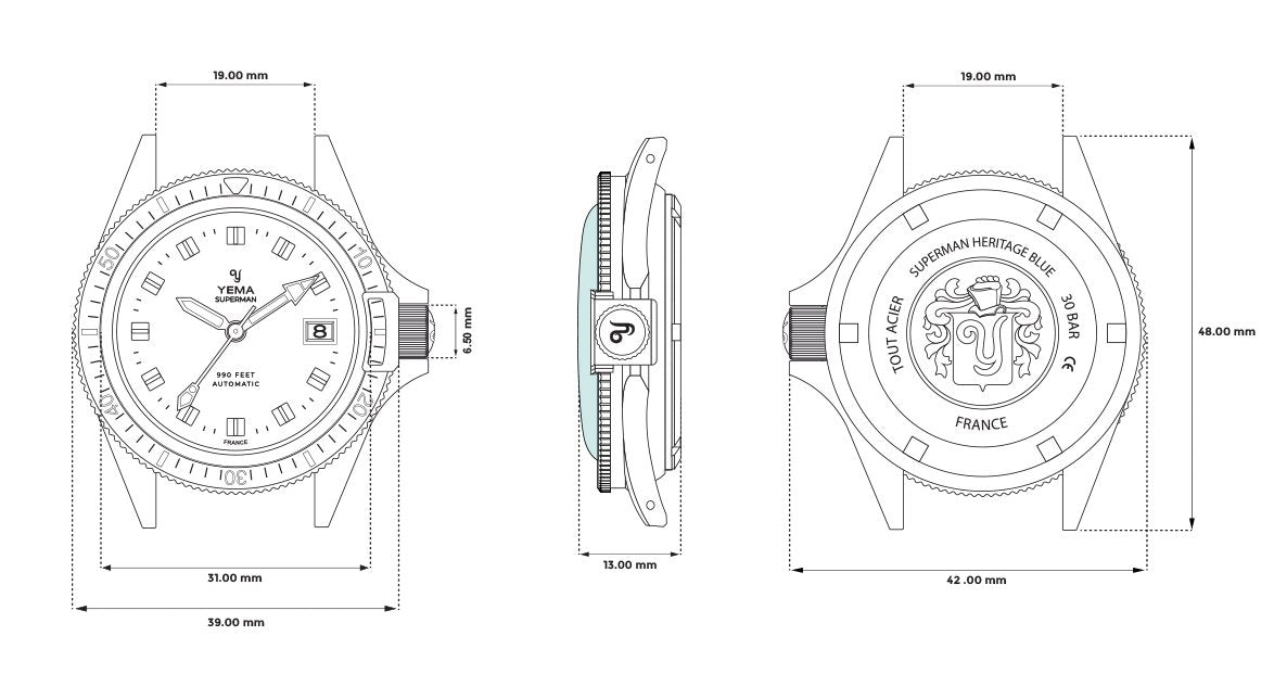 Superman Heritage Blue Technical Drawing