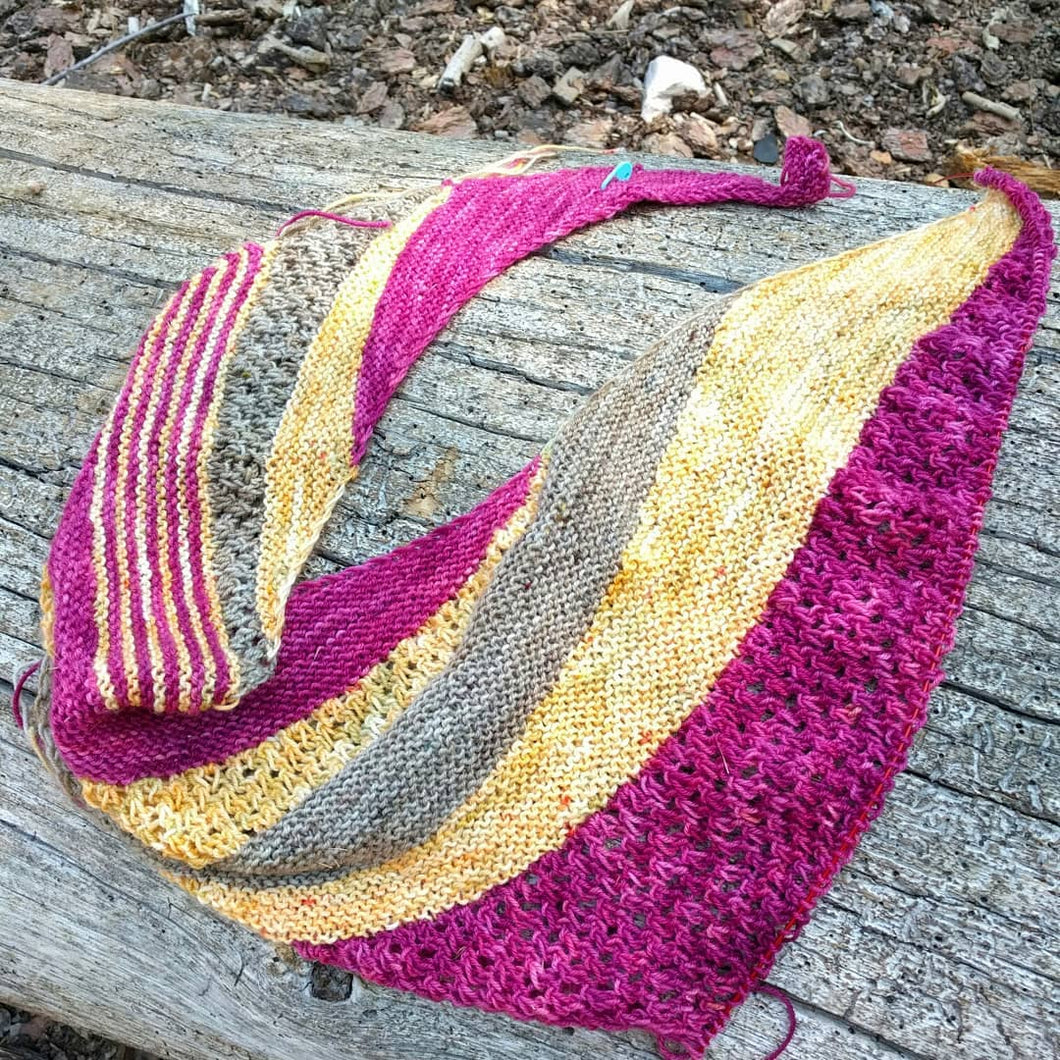 SUMMER TRAIL-  3 Skein Shawl kit