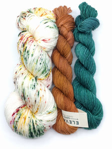DASHING THROUGH THE SNOW with 2 mini skeins- sock kit