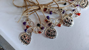 Silver-Plated Pewter Stitch Markers - PUMPKIN