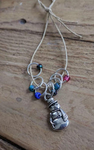 Silver-Plated Pewter Stitch Markers - SNOWMAN