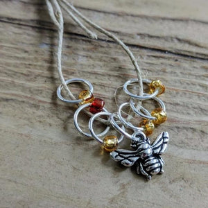 Silver-Plated Pewter Stitch Markers - HONEYBEE