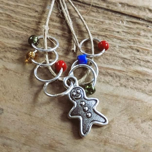 Silver-Plated Pewter Stitch Markers - GINGERBREAD