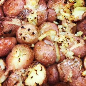 Garlic Olive Oil Smashed Spuds