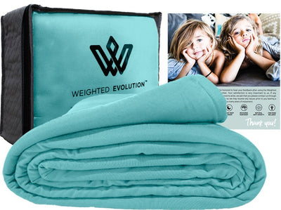 Turquoise 60x80 inch Weighted Evolution Premium Organic Bamboo Knit Weighted Blanket Duvet Cover Removable Washable Hypoallergenic