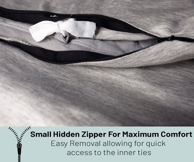weighted cover features hidden zipper