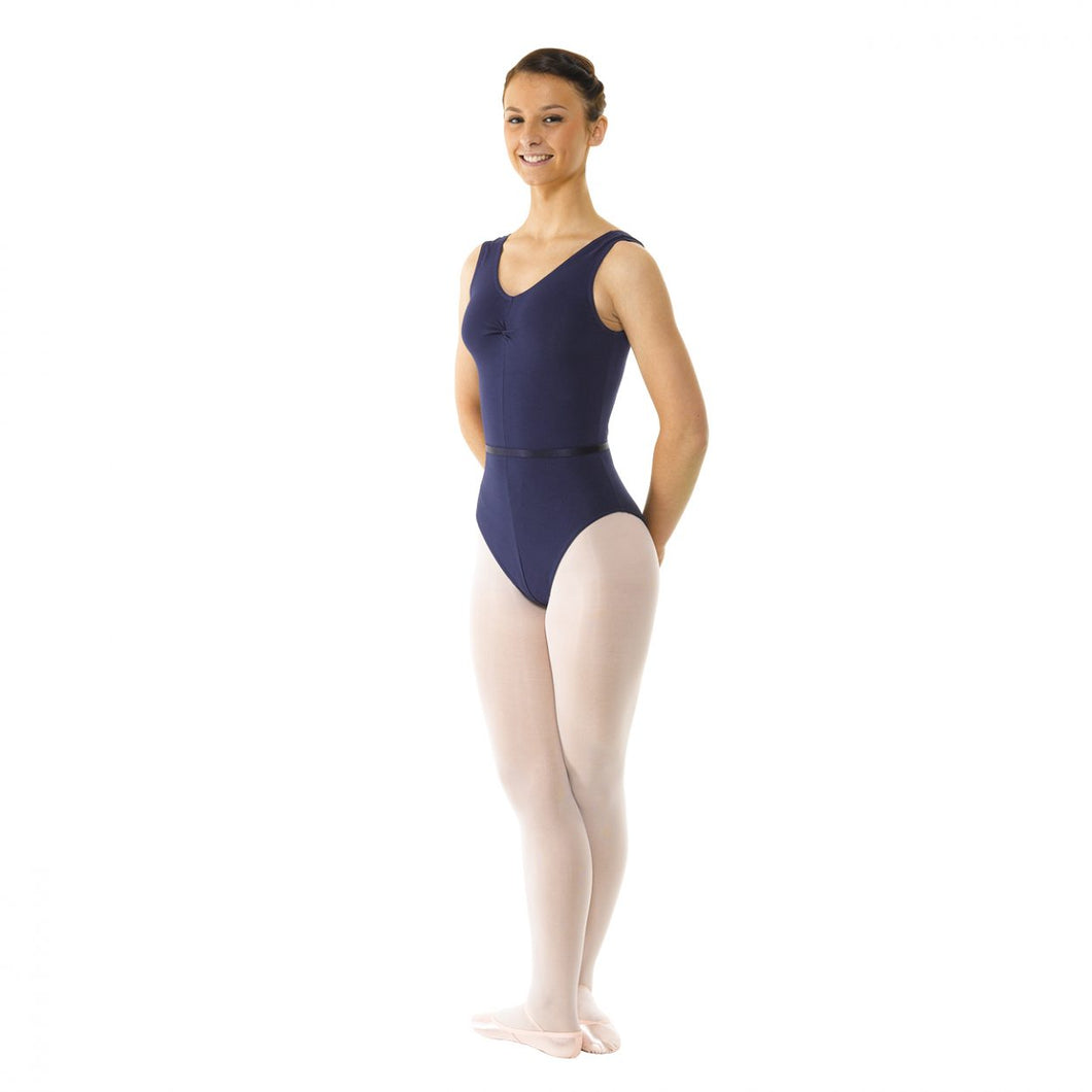 Navy Ruched Front Sleeveless Leotard