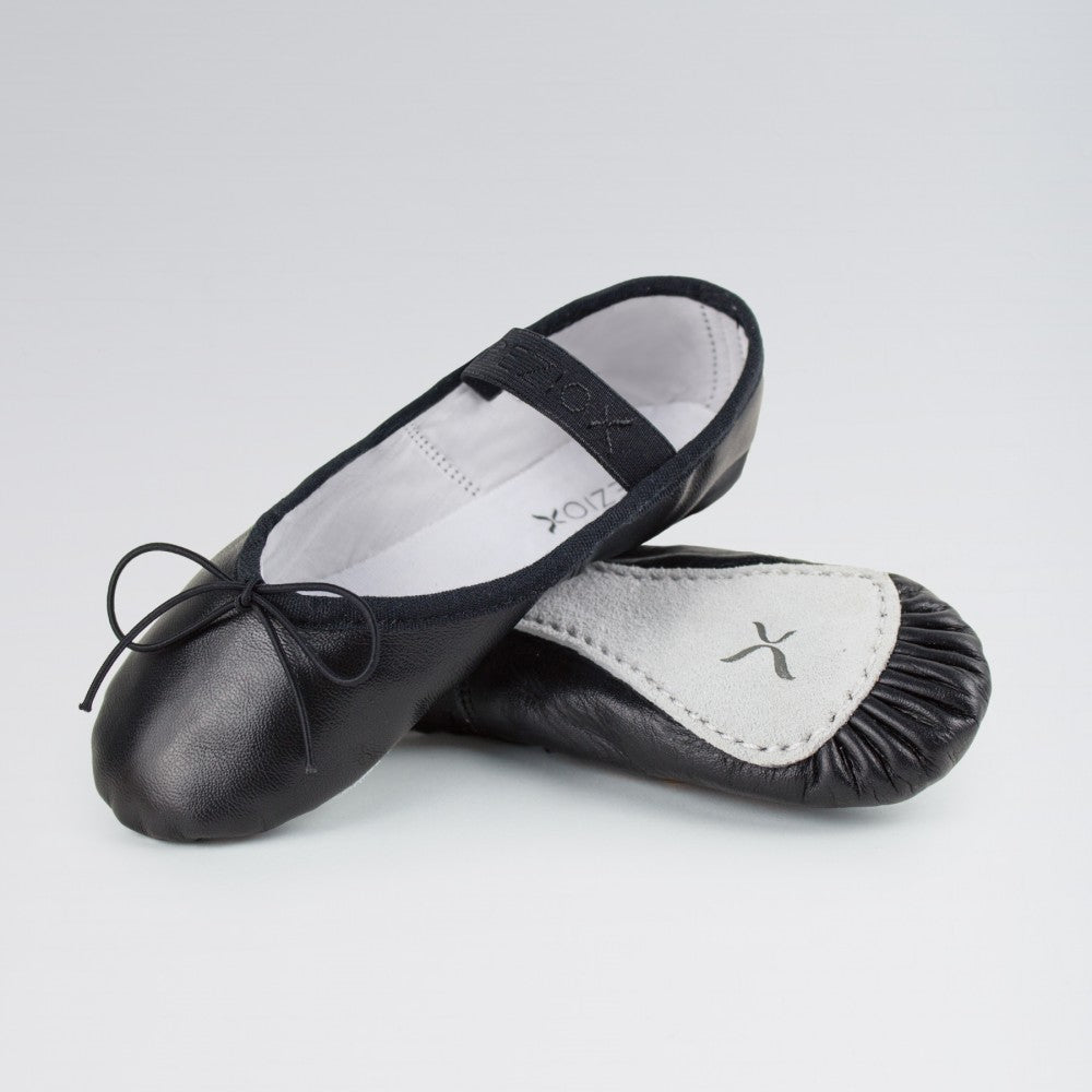 Capezio Black Leather Ballet Shoes with Elastic