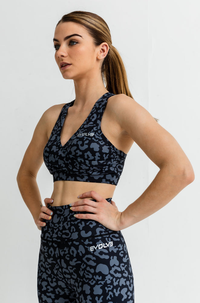 Load image into Gallery viewer, Jungle Sports Bra - Black Jaguar