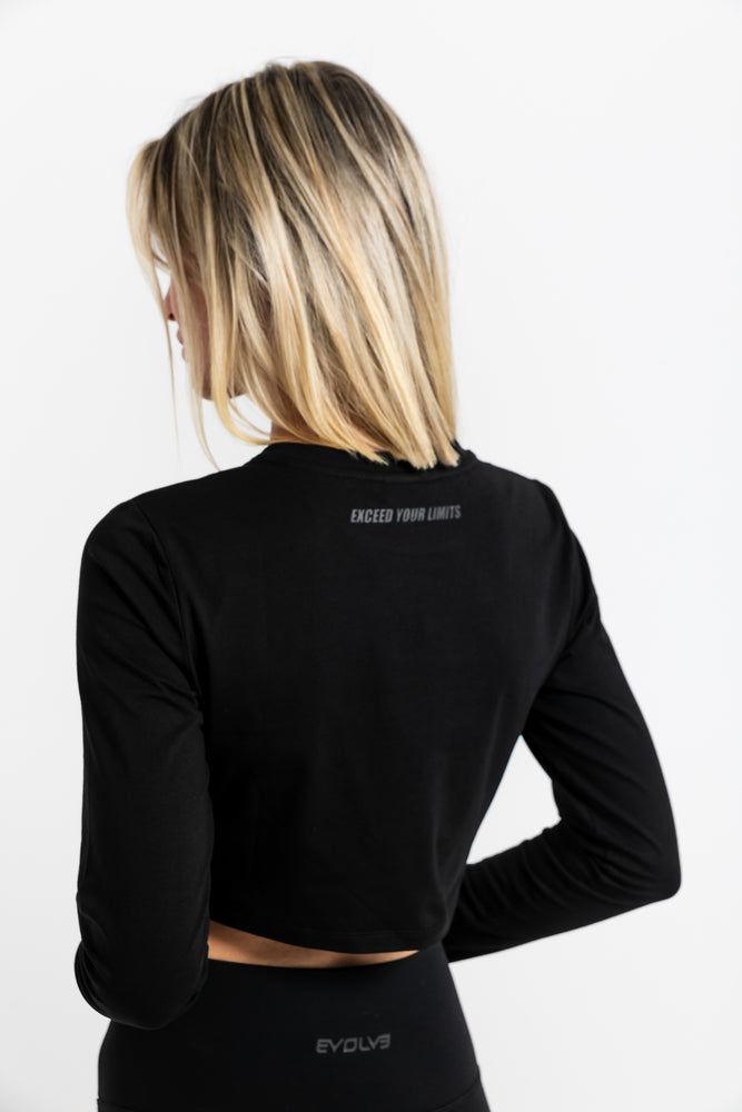 Load image into Gallery viewer, Icon Long Sleeve Crop - Black