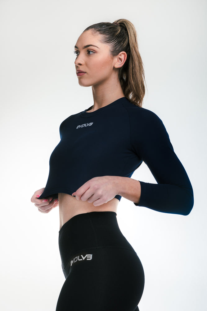 Load image into Gallery viewer, Long Sleeve Crop - Navy Blue
