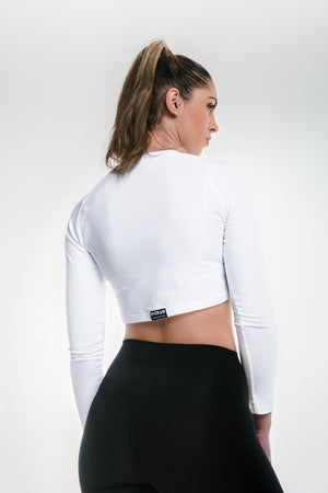 Load image into Gallery viewer, Long Sleeve Crop - Frost White
