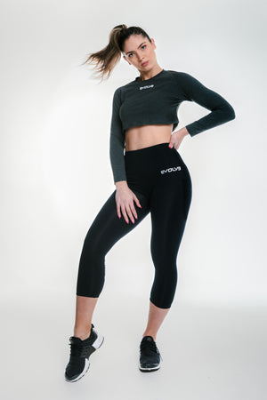 Long Sleeve Crop - Charcoal