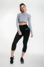 Long Sleeve Crop - Grey