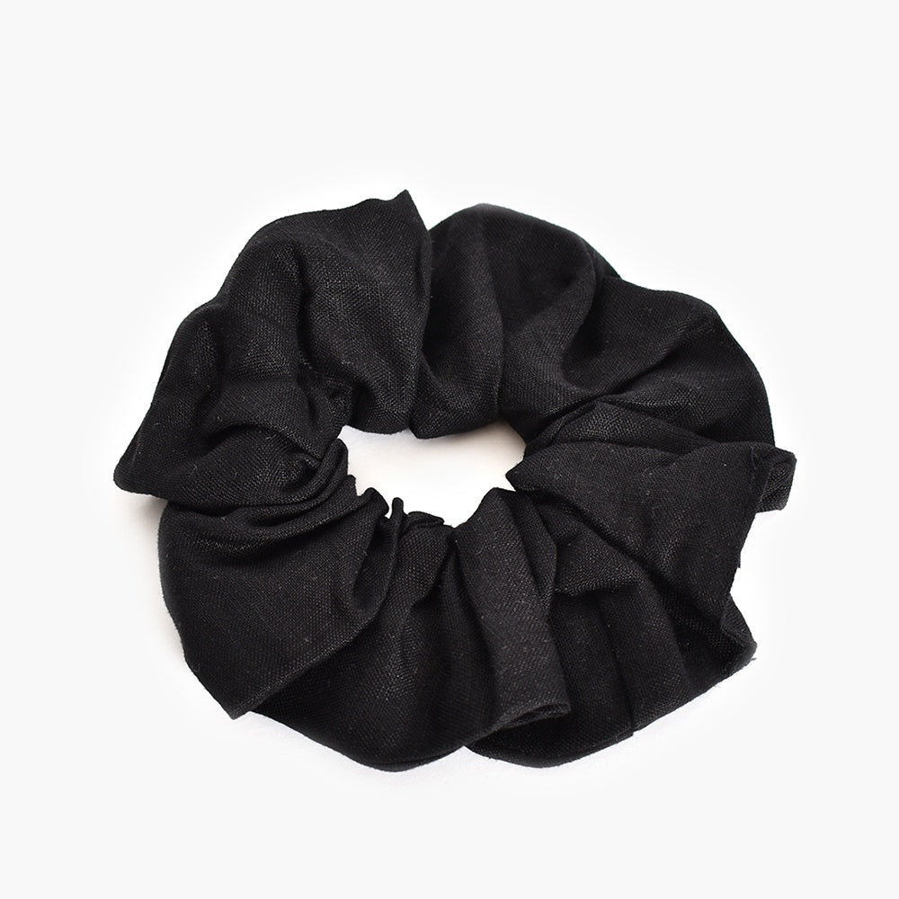 Adorne - Linen scrunchie - Black