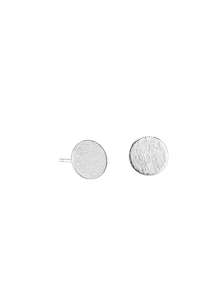 Tiger Tree - Brushed circle earrings - Silver