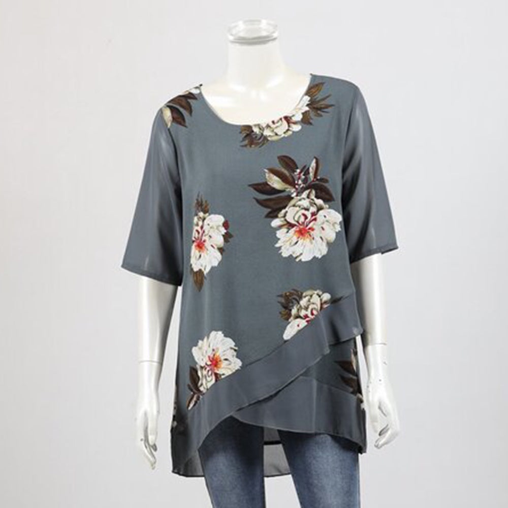Whispers - Short sleeve layer top - Grey floral