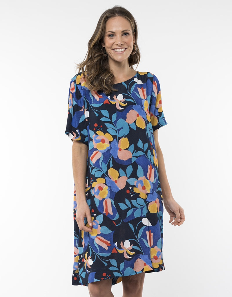 Elm Lifestyle - Gardenia Floral dress - Navy floral
