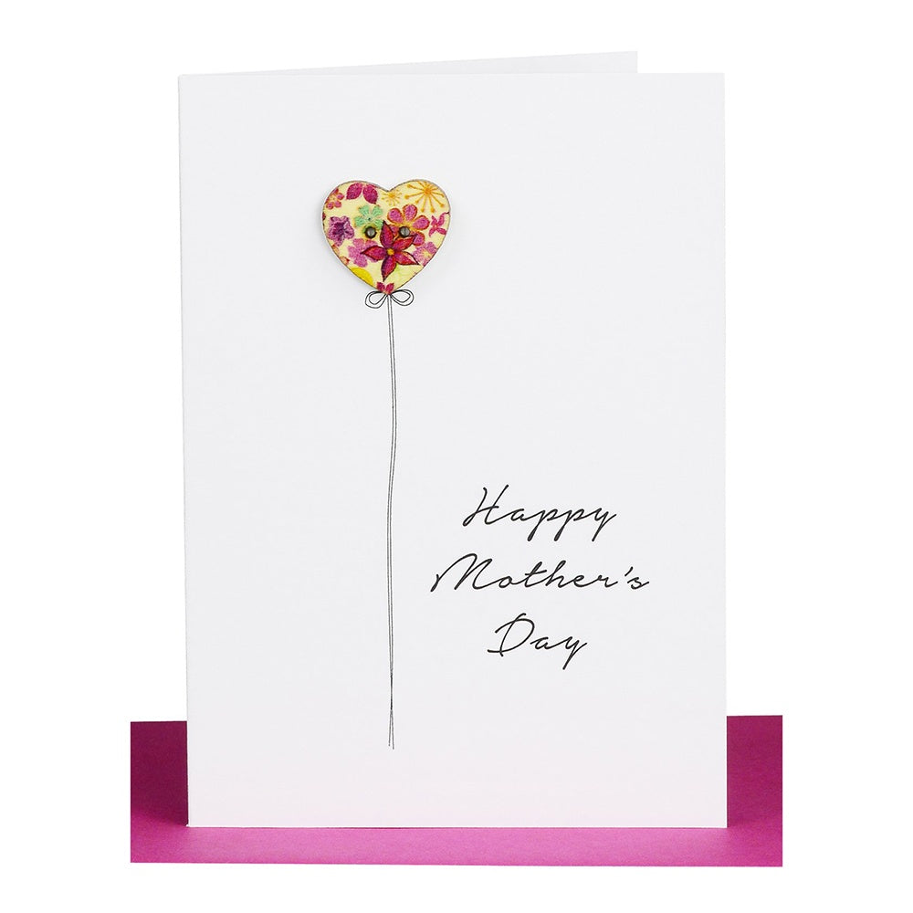 "Lil's Cards - ""Happy Mother's Day"" small greeting card - Heart balloon"