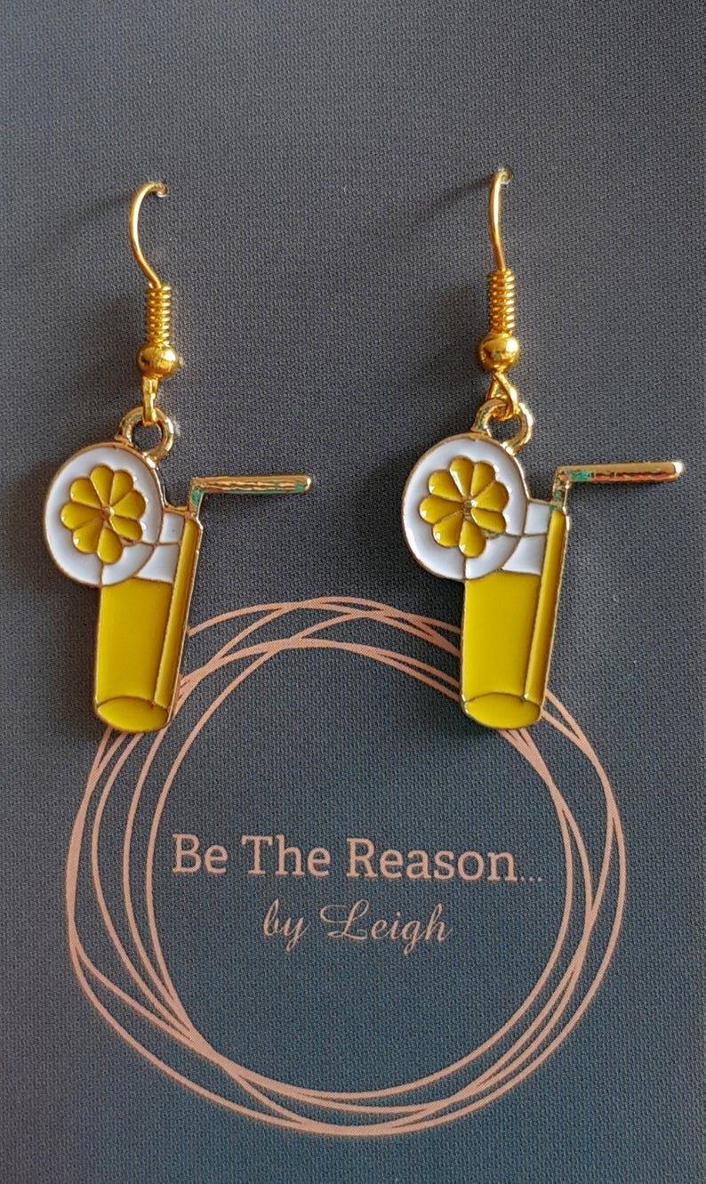 Be The Reason by Leigh - Lemonade glass earrings - Gold