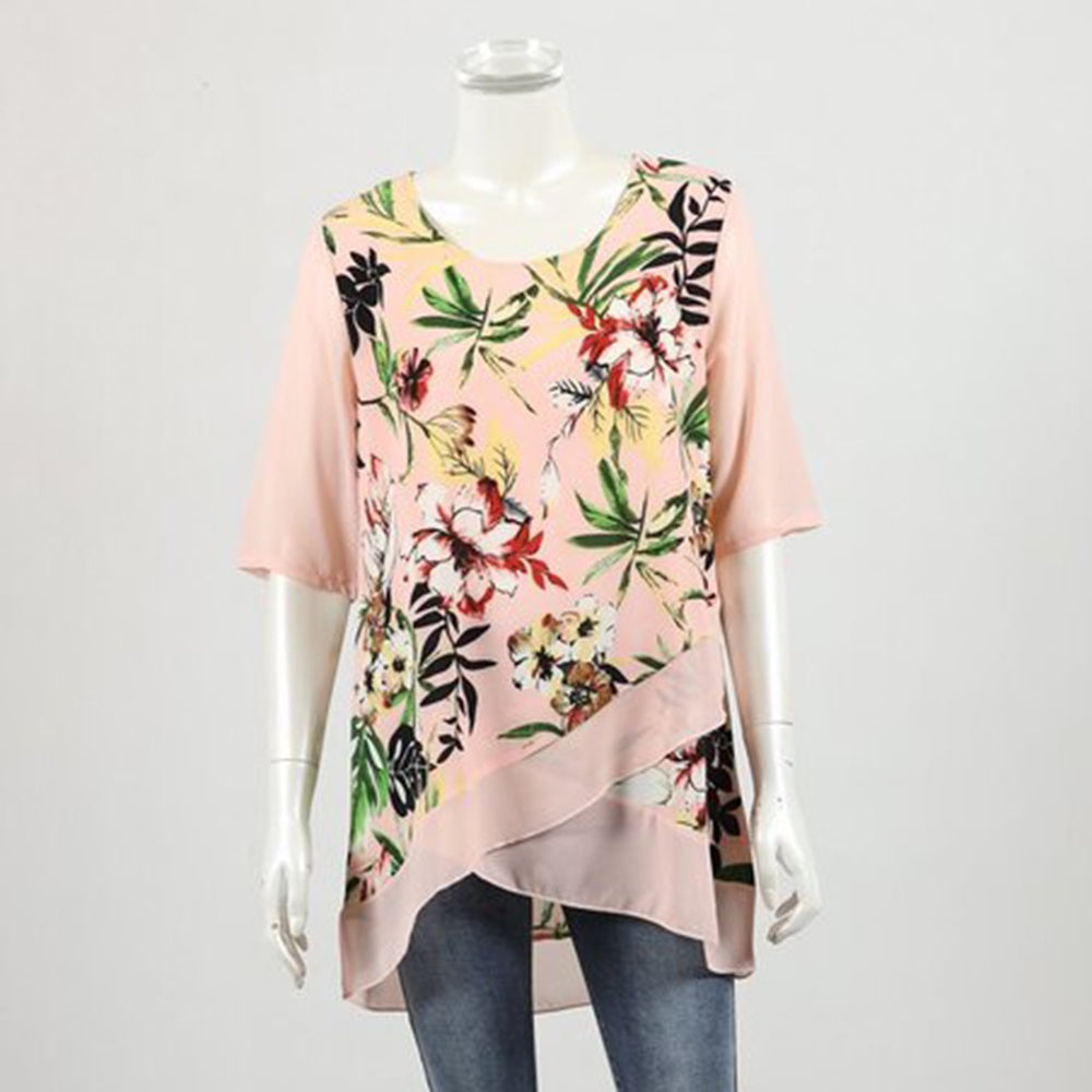 Whispers - Short sleeve layer top - Pink floral