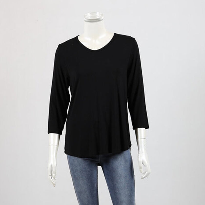 Bamboo by Whispers - 3/4 sleeve V neck tee - Black