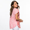 Threadz - Cap sleeve shirt - Pink/Red summer print