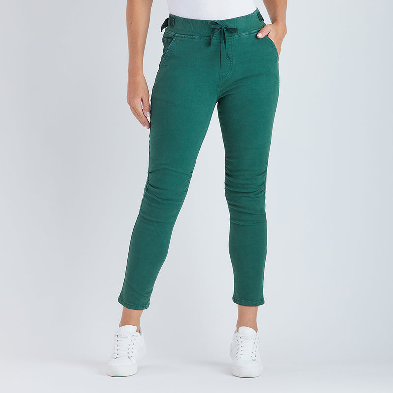 Threadz - Tie front gathered jeans - Green