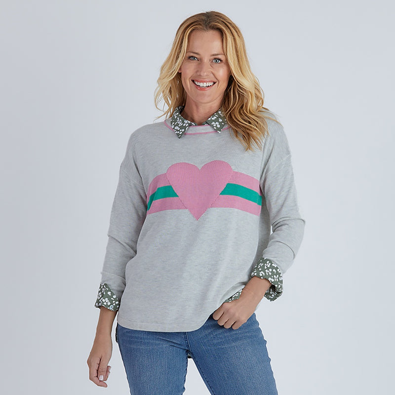 Gordon Smith - Heart feature knit jumper - Silver