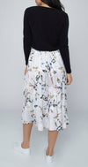 Jump - Watercolour abstract floral pleated skirt - Silver