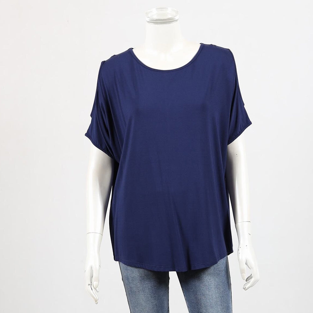 Bamboo by Whispers - Cold shoulder top - Navy