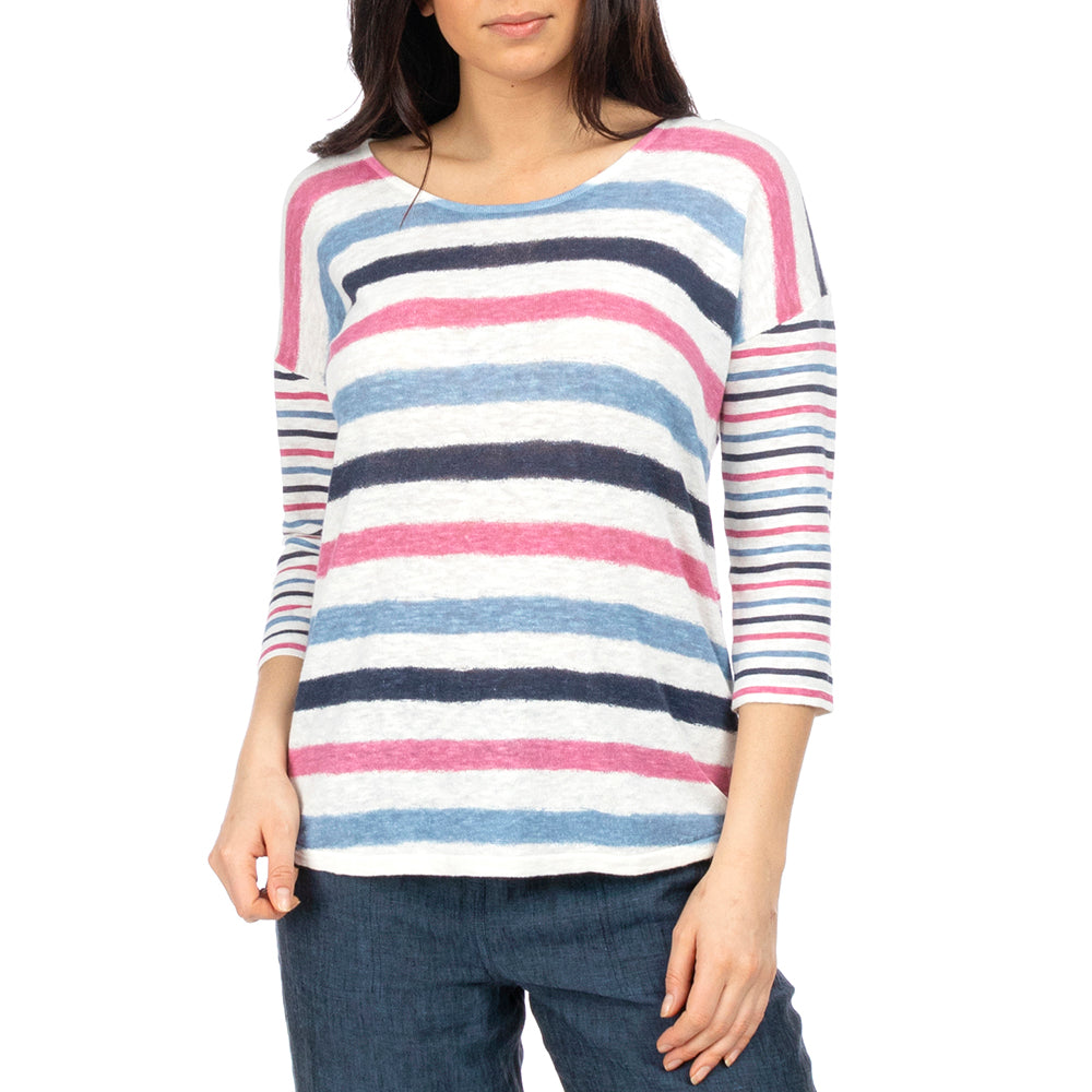 Jump - Paintbrush stripe pullover - Sherbert/blue