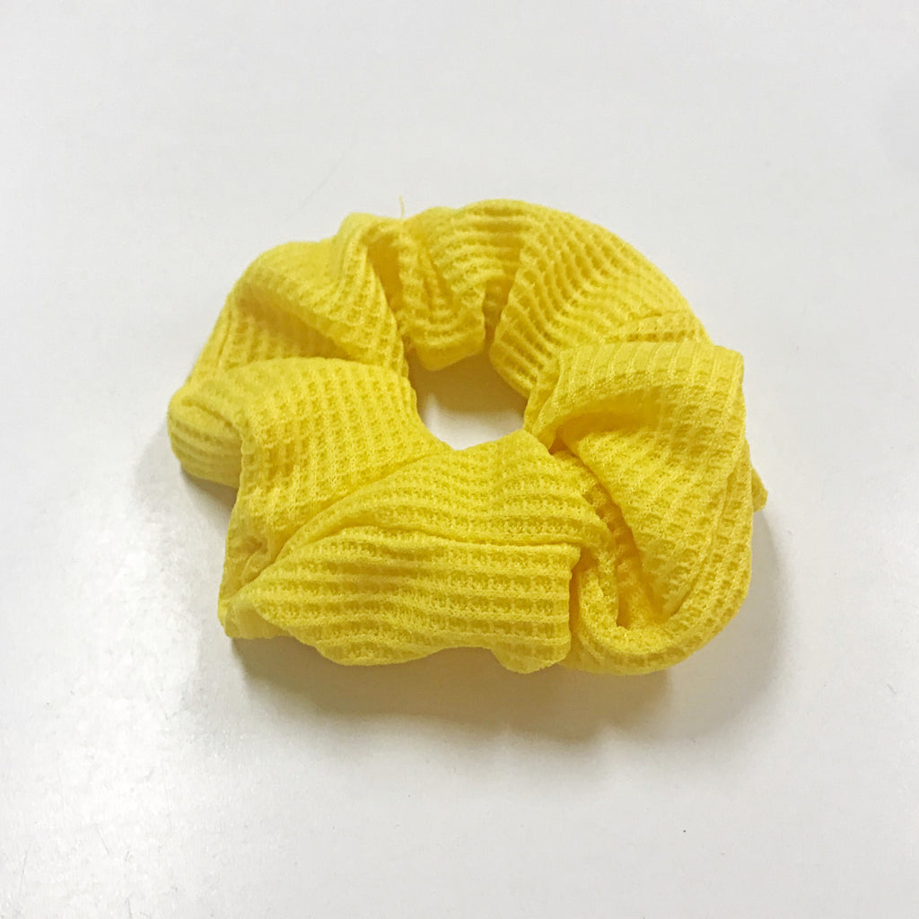 Knit fabric solid scrunchy - Black, Yellow, Hot pink and Sky blue