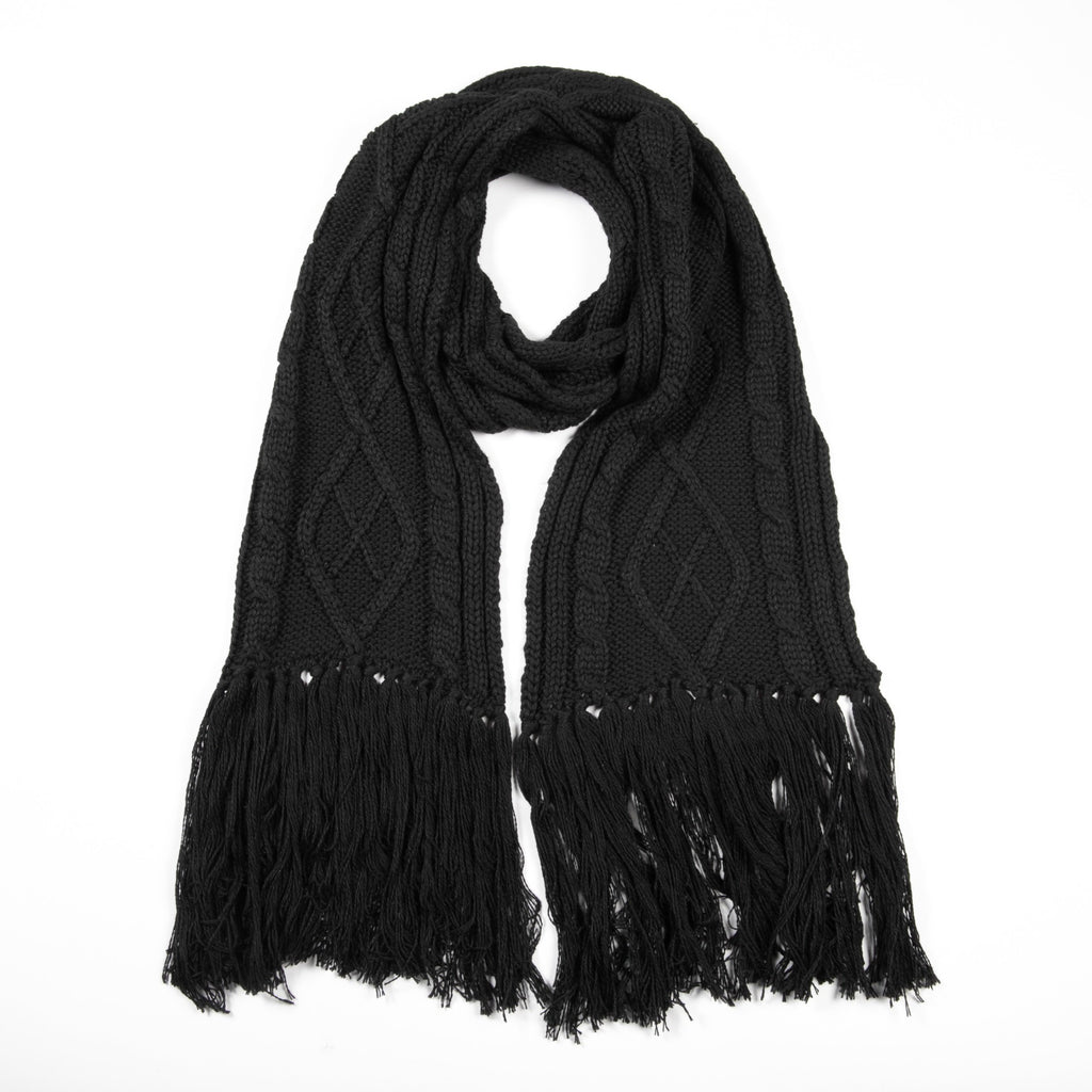 Betty Basics - Lunar knit cable scarf - Black