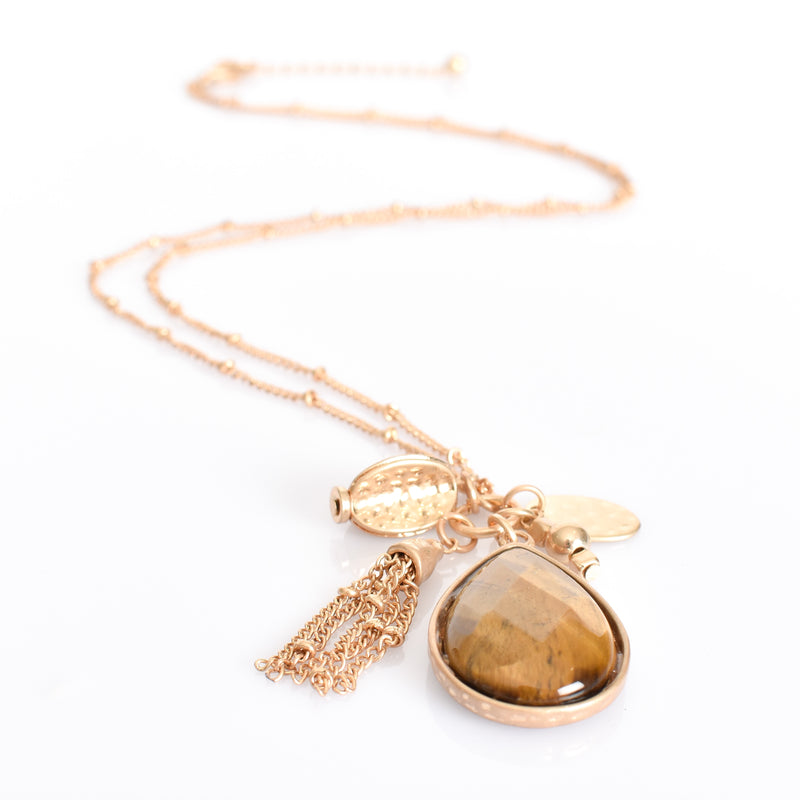 Adorne - Stone teardrop cluster necklace - Tiger/Gold