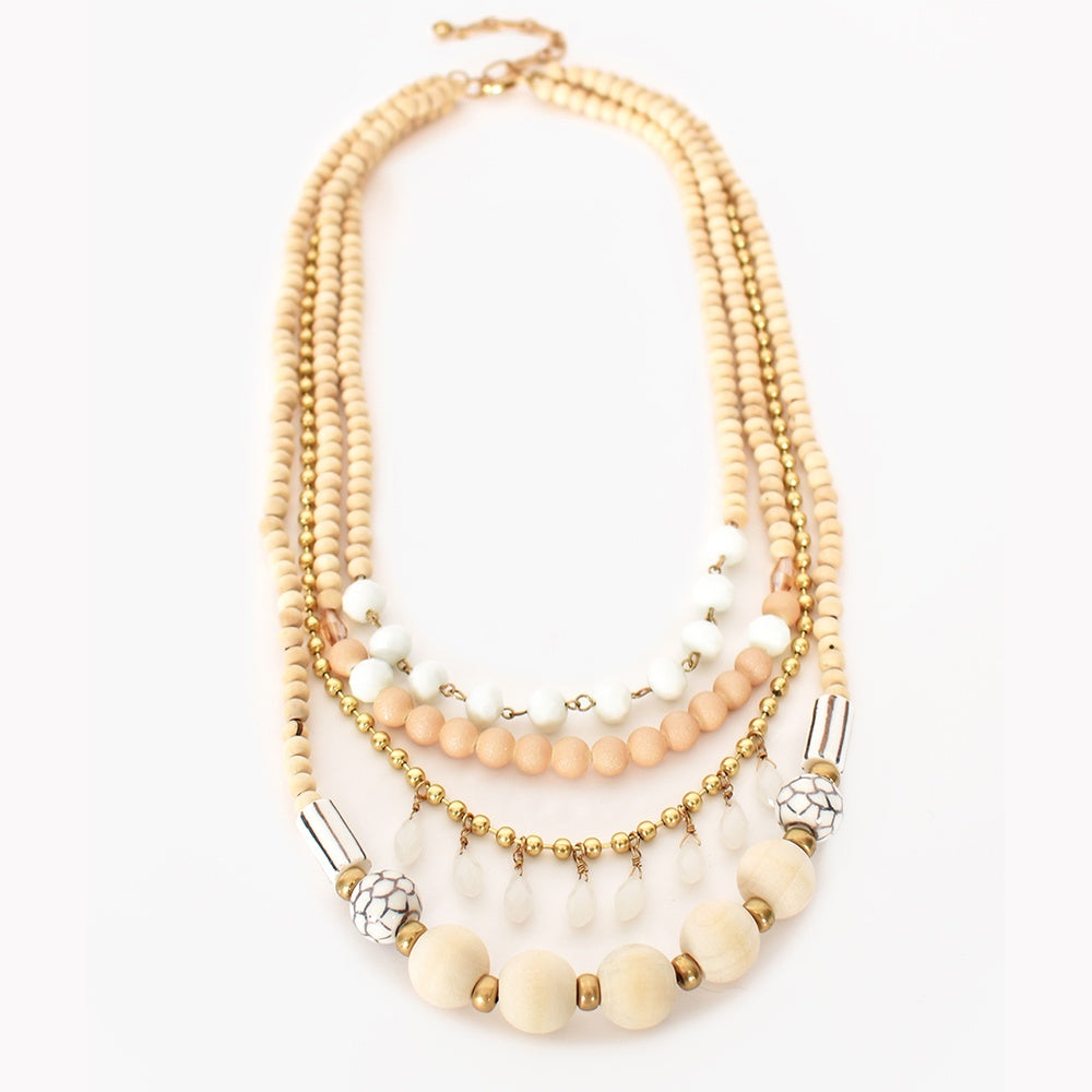 Adorne - Layered timber mix necklace - Camel