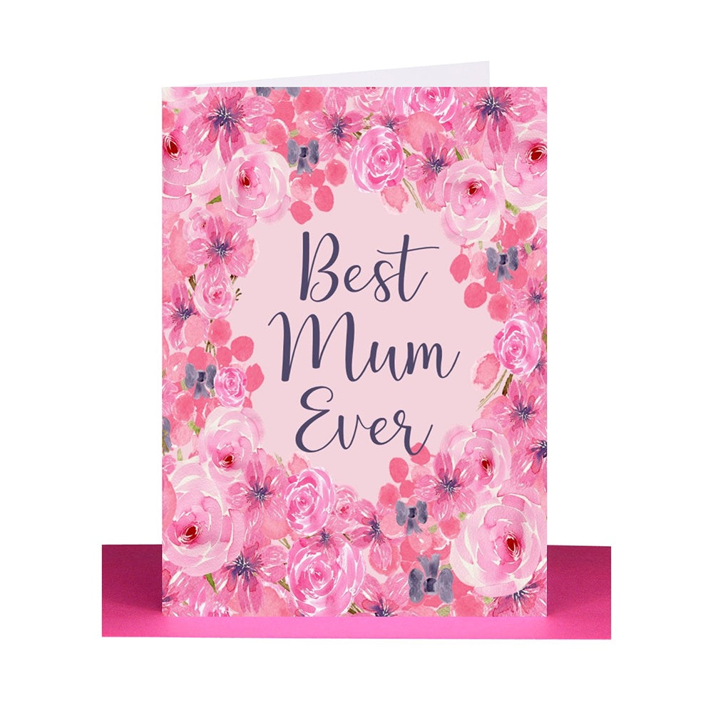 "Lil's Cards - ""Best Mum Ever"" greeting card - Pink floral"