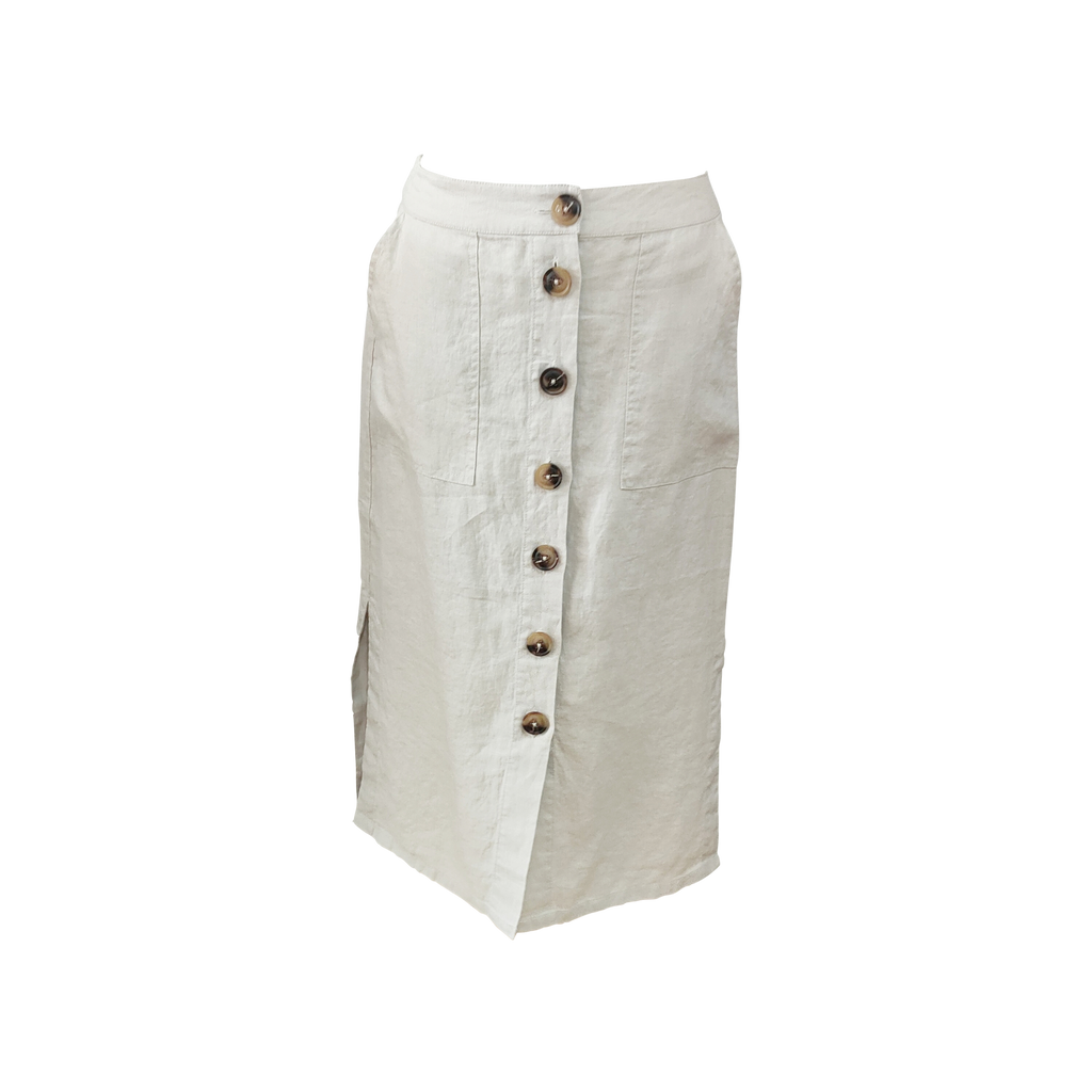 Ping Pong - Linen pencil skirt - Pebble