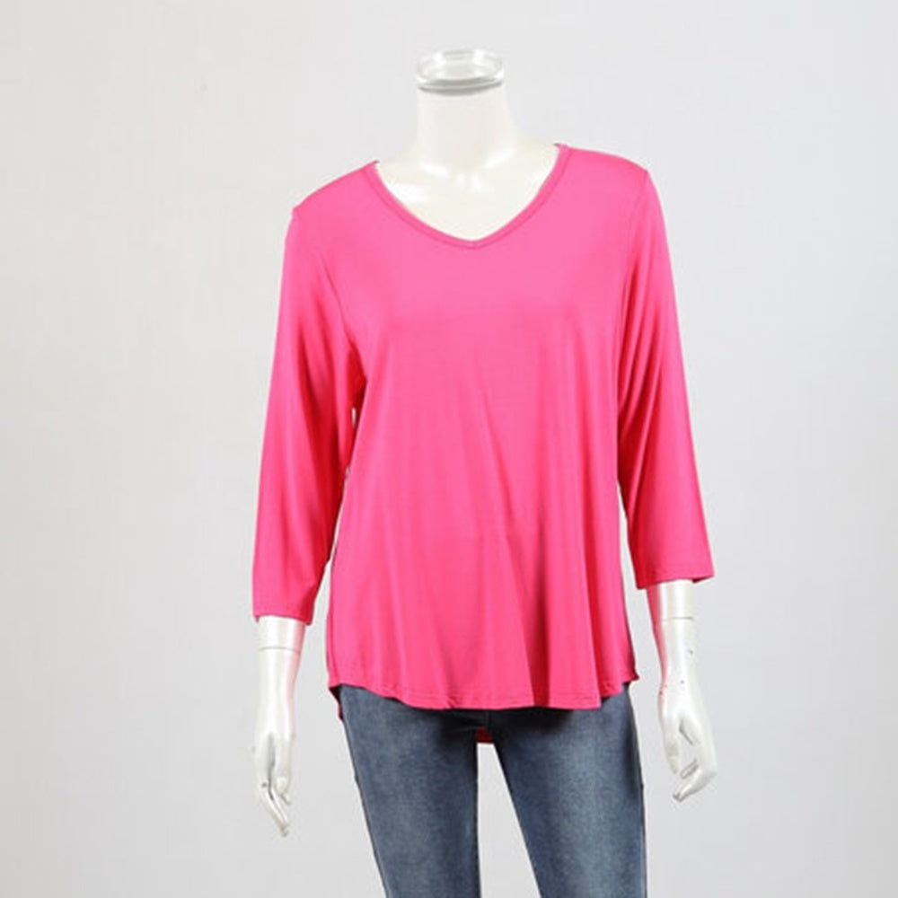 Bamboo by Whispers - 3/4 sleeve V neck tee - Hot pink