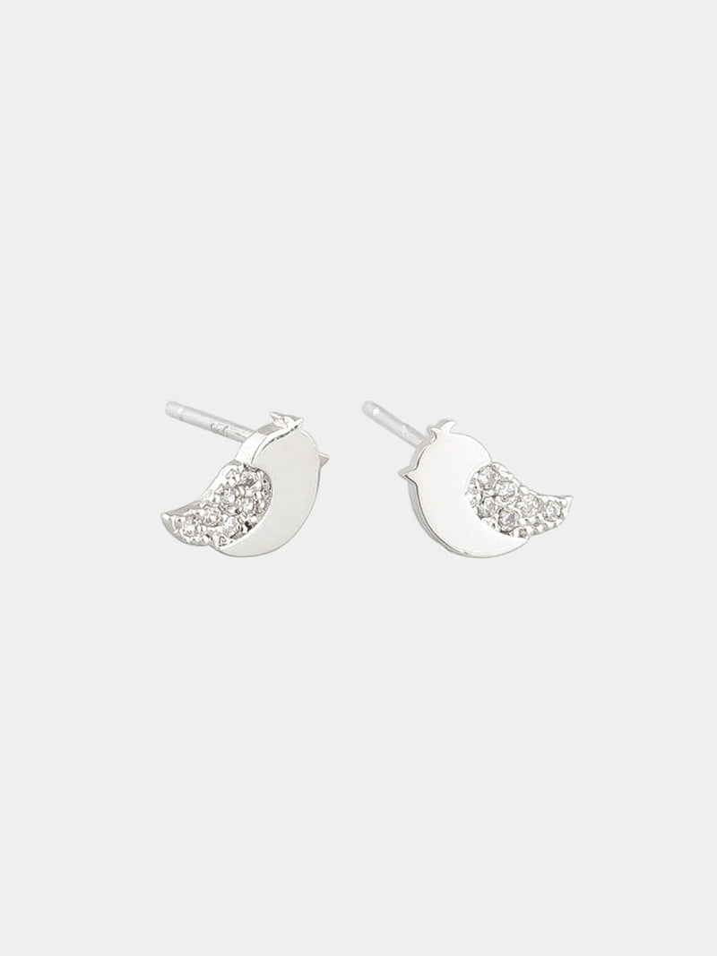 Tiger Tree - Baby bird studs - Silver
