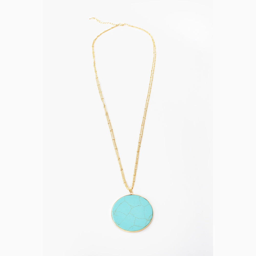 Adorne - Round stone pendant long necklace - Turquoise/Gold